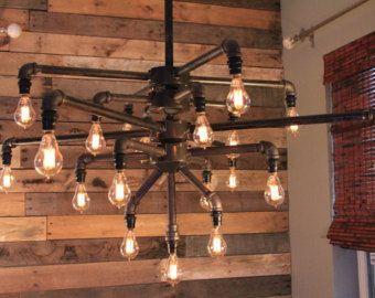 iron pipe furniture. large black iron pipe 19 light chandelier w candelabra edison style bulbs furniture i