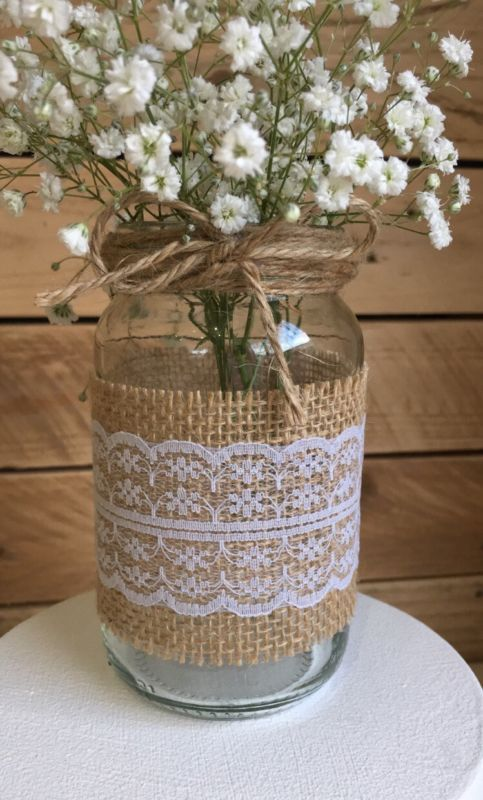 10 x Glass Jars Vases Vintage Wedding Centrepiece Shabby Chic Hessian Lace Twine