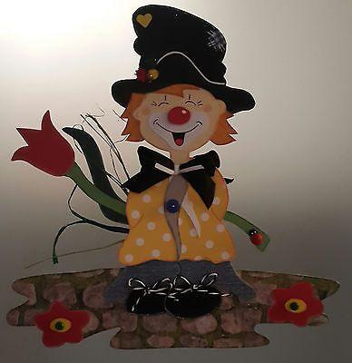 Fensterbild  Clown als Blumenbote- Fasching -Karneval -Dekoration - Tonkarton!
