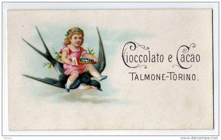 Chromo Cioccolato e Cacao Talmone Torino Chocolat livreur message panier fleur bonbon fillette attelage Hirondelle