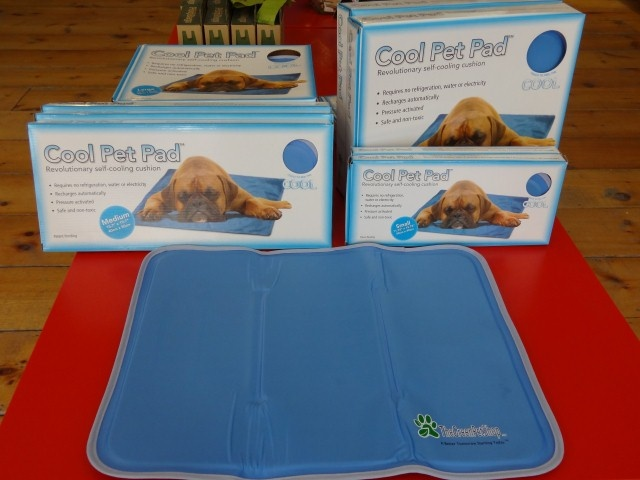 Visit Bark & Mewz to check it out! The COOL PET PAD is weight or pressure activated. As soon as your 4 legged friend lies down the cooling effect starts. It will last up to 3-4 hours of constant use and will last for years. It will re-charge itself automatically after a brief period of non-use. No water, electricity, or refrigeration needed! How cool is that?
