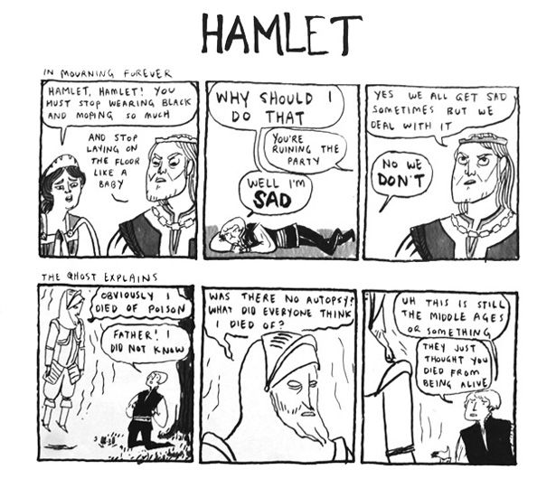 The queen is mad that hamlet is still upset over his fathers death and the deceased Hamlet comes back as a ghost, asking young hamlet to avenge his death
