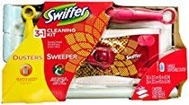 Swiffer Sweeper 3 in 1 Mop and Broom Floor Cleaner & Swiffer Dusters Disposable Cleaning Dusters Starter Kit, Red