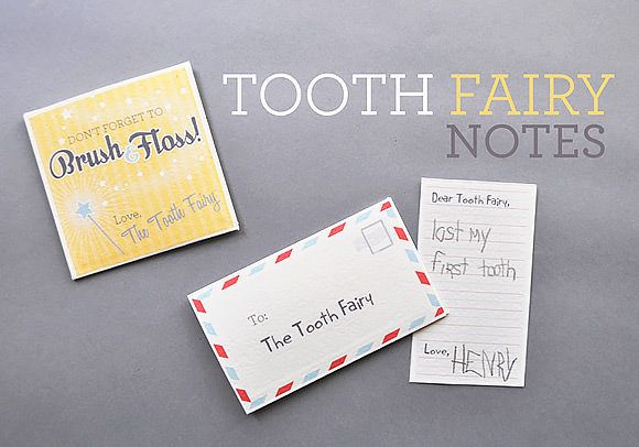 Free Printable Tooth Fairy Notes - loved these - I used glitter glue on the sides of the tooth fairy note and wiped a little glitter glue across it too.  Worked beautifully!