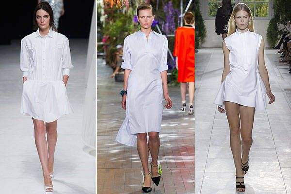 Spring 2014 Style Trends from Fashion Week - Harper's BAZAAR. (Pair a crisp white shirt dress/loose kurta with printed leggings or jeggings)
