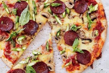 Salami, asparagus and mushroom pizza