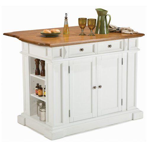 Home Styles White and Oak Finish Large Kitchen Island