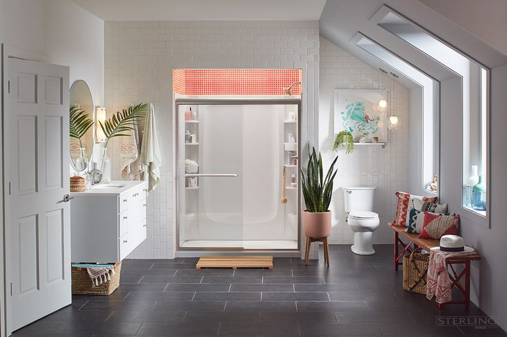 A bright, organized bathroom – it's possible with Sterling STORE+ Shower System.