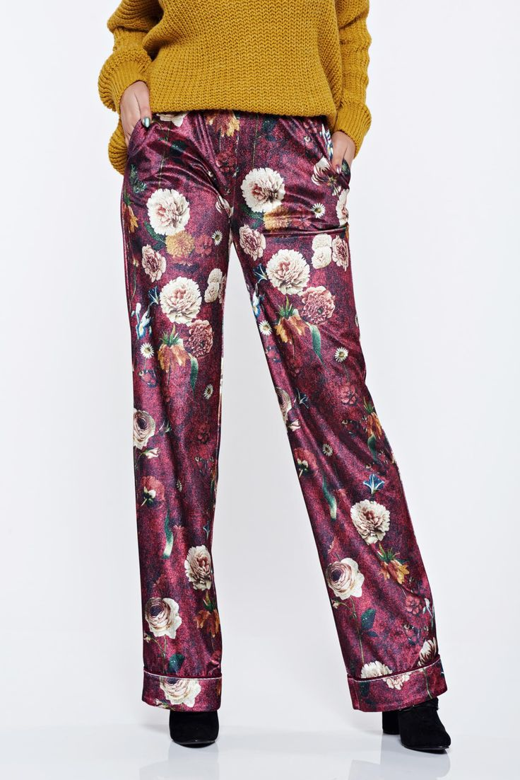 PrettyGirl burgundy casual trousers with medium waist with floral print, women`s trousers, with pockets, floral prints, elastic waist, easy cut, velvet