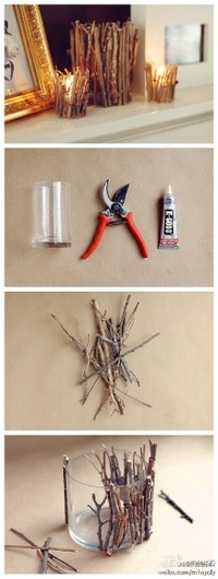twigs embellished candle holders