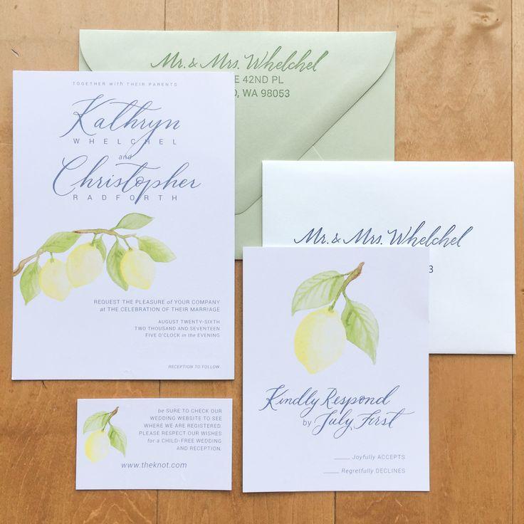 Lemon Branch Wedding Suite with custom Watercolor Illustration