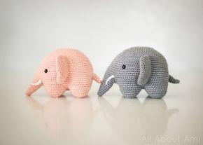 Opskrift på søde hæklede elefanter.