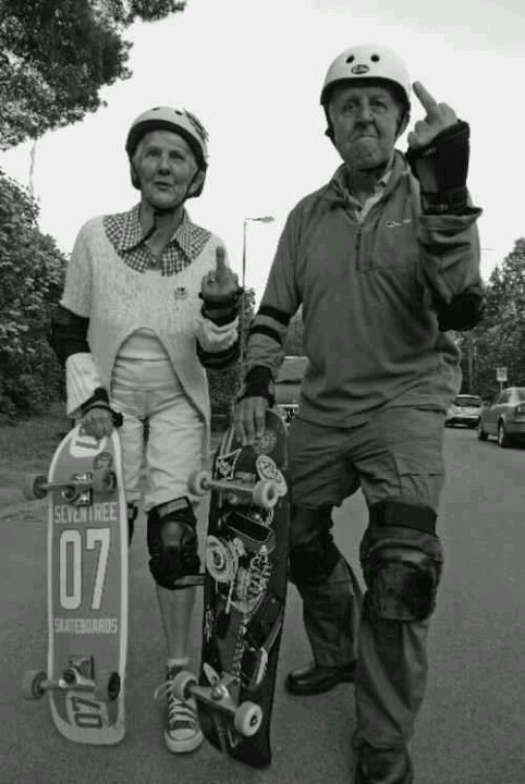 "#skate for #life.  Never too old to say ""f-you"" to the man.  At least that's what we at boardtrader.com assume they're saying"
