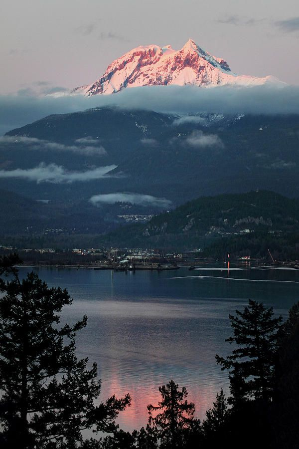 Mount Garibaldi with Diamond Head overlooking Squamish on Howe Sound, British Columbia, Canada.