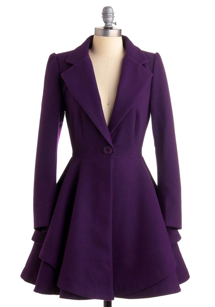 Always A-List Coat. Luxury is your middle name when you wear this clean, high-class coat by Runaway Pony! #purple #modcloth