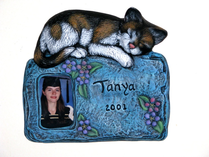 Custom Engraved and Painted Ceramic Cat Frame or Plaque  -hand made. $30.00, via Etsy.