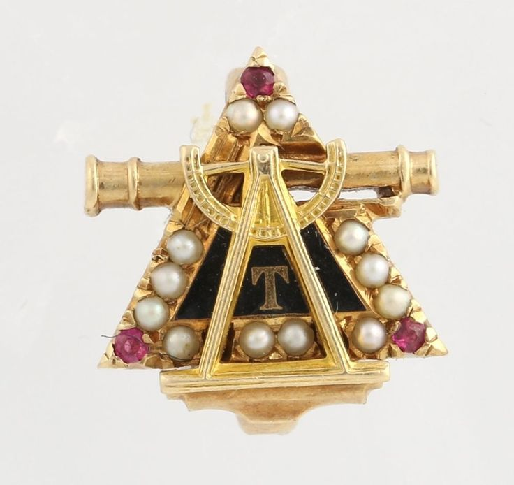 Triangle Fraternity Badge - 14k Yellow Gold Rubies Seed Pearls Collectible Pin