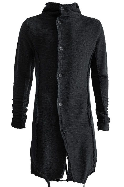 THOM KROM | Hooded boucle cotton cardigan | Black