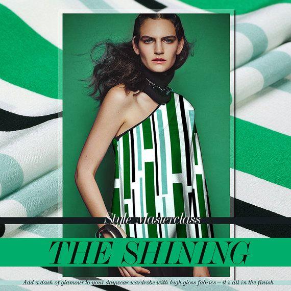 Zijde stof groene strepen stof geometrische stijl door AshleyFabric
