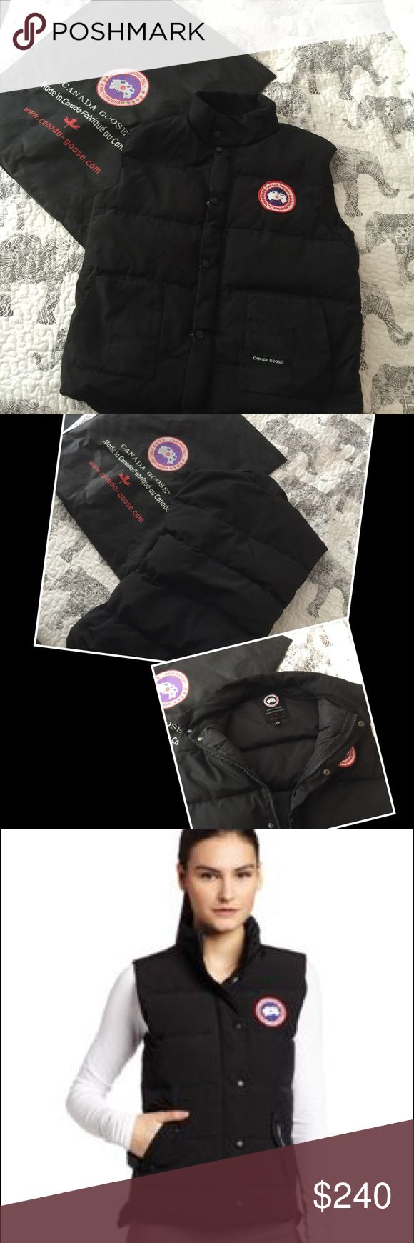 Canada goose M black vest This is a male size M. I'm usually a women m-l for coats and this fits me perfectly. In almost new condition beautiful fit keep you warm! Chest 38-40, waist 31-33, hip 38-40. Retail 400 Canada Goose Jackets & Coats Vests
