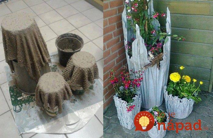 Vyrobte si jedinečné kvetináče do vašej záhrady zo starej látky a betónovej zmesi.  Je to skutočne jednoduché a výsledok očarí už na prvý pohľad. :-)
