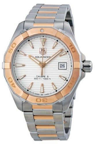 Tag Heuer Aquaracer Automatic Silver Dial Stainless Steel and 18kt Rose Gold Men's Watch WAY2150.BD0911