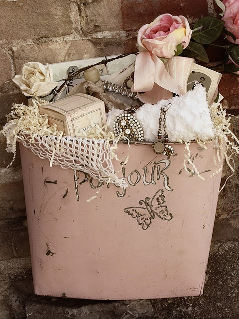 """bucket full of vintage treasures"""