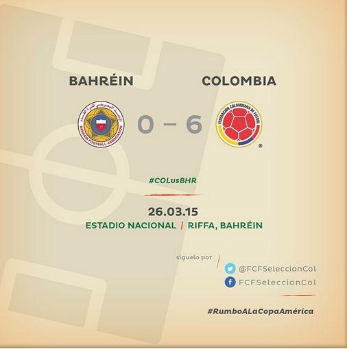 RT @FCFSeleccionCol: #COLvsBHR  Final del partido en el estadio Nacional. Colombia 6 - Bahréin 0. ¡Gran juego de #FCFMayores! #COLvsBHR Min 13: Gol!!!!! de Carlos Bacca!!! COL 1 - BHR 0. #COLvsBHR mIN 31: ¡¡¡Golazo!!! de @FALCAO!!! COL 2 - BHR 0.   #COLvsBHR Min 35: De nuevo @FALCAO!!!! Colombia 3 - Bahréin 0.  Min 58: Gol!!!!!!!! de Adrián Ramos. Colombia 4 - Bahréin 0.  Min 78: Gol!!!! de Johan Mojica!!!! COL 5 - BHR 0.  Min 81: Gol!!!!! de Andrés Rentería. COL 6 - BHR 0.
