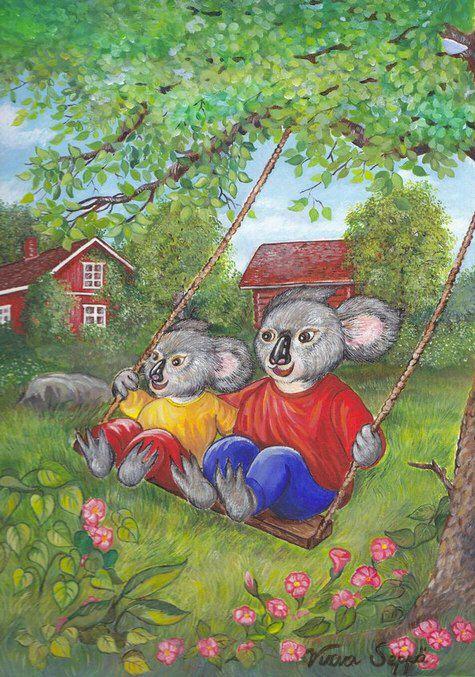 Hoksotin   A free digital jigsaw puzzle of happy koalas / Ilmainen digipalapeli iloisista koaloista