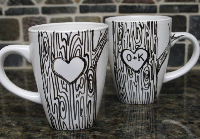 Custom Heart on Tree Mug with Initials love Hand painted. $14.00, via Etsy.