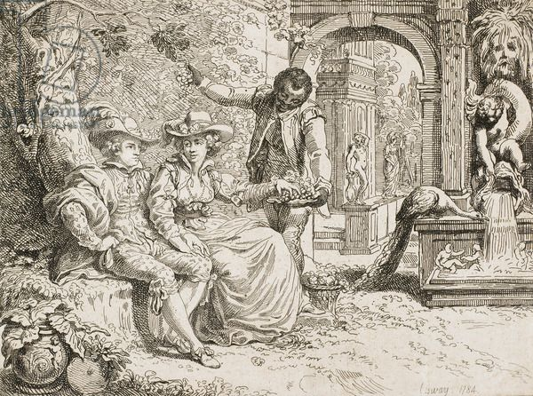 The Artist and his Wife in a Garden, with a black Servant, 1784 (etching) Cosway, Richard (1742-1821)