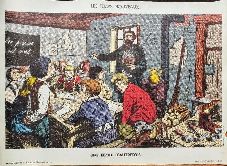 """Manuels anciens: Affiche d'histoire n°32 """"Une école d'autrefois"""""""