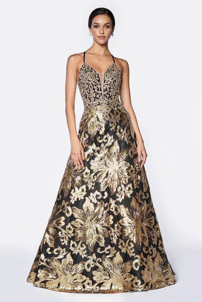 1ca35bead38 Black Gold Floral Sequin Long A-line Dress by Cinderella Divine CD0125 –  ABC Fashion