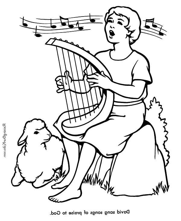David The Shepherd Boy Sing A Song Praise To God ShepherdColoring SheetsColoring