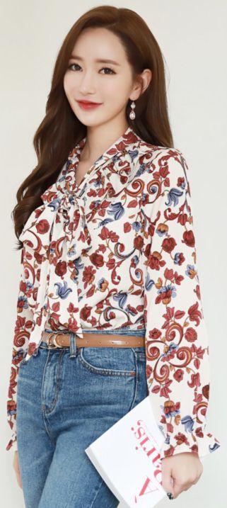 StyleOnme_Paisley Print Ribbon Tie Frill Blouse #flower #floral #feminine #blouse #ribbon #blouse #koreanfashion #kstyle #kfashion #dailylook
