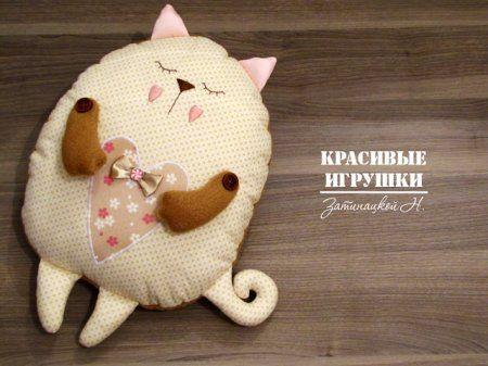 Подушка игрушка кот (кошка) своими руками: выкройка  и мастер класс по кройке и шитью