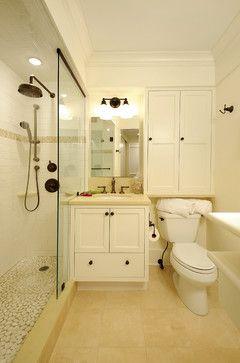 small bathroom organizers / storage | Traditional Bathroom design by Dc Metro Interior Designer Kirsten ...