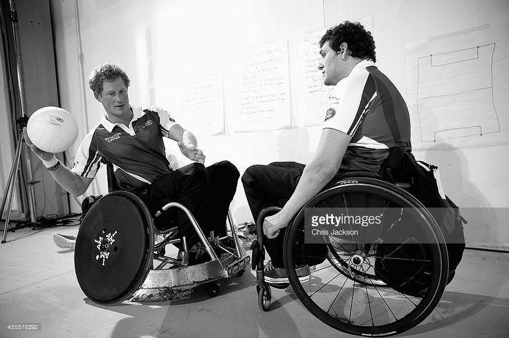 Prince Harry learns the rules to wheelchair rugby as he competes in a warm up wheelchair rugby match ahead of tonight's exhibition match as part of the Invictus Games at Queen Elizabeth park on September 12, 2014 in London, England.The International sports event for 'wounded warriors', presented by Jaguar Land Rover was an idea developed by Prince Harry after he visited the Warrior Games in Colorado USA. The four day event has brought together thirteen teams from around the world to compete…