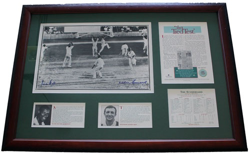 The Tied Test celebrates the first ever draw in test cricket history. In December 1960 The West Indies played Australia at the Gabba. After 5 days the scores could not be separated. The great Ritchie Benaud of Australia and Wes Hall of the West Indies have signed this item. This item is strictly limited to 1000 and is individually numbered. It is accompanied with a certificate of authenticity issued by Price WaterhouseCoopers.
