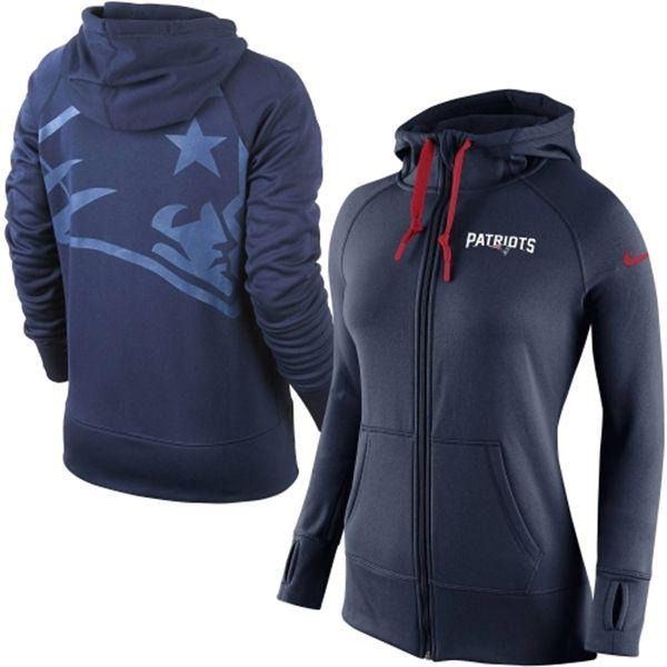 Women's New England Patriots Nike Navy Blue Warpspeed All Time Full-Zip Performance Hoodie