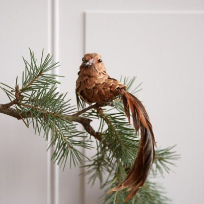 """A trailing tail of natural feathers adorns this sweet bird ornament, each one made from a natural pine cone and affixed with a clip for easy decorating.- Pinecone, feather, polyfoam, metal clip- Indoor use only- Imported2.8""""H, 1.8""""W, 7.9""""L"""