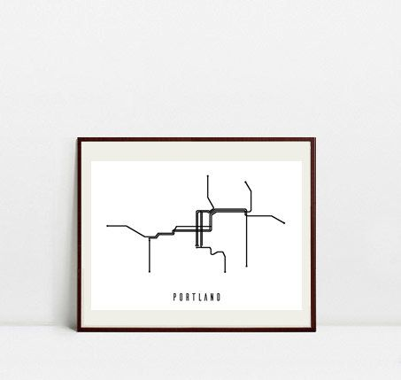 Portland Metro Map - Black and White Art Print - Digital Download Art Print by Postery on Etsy