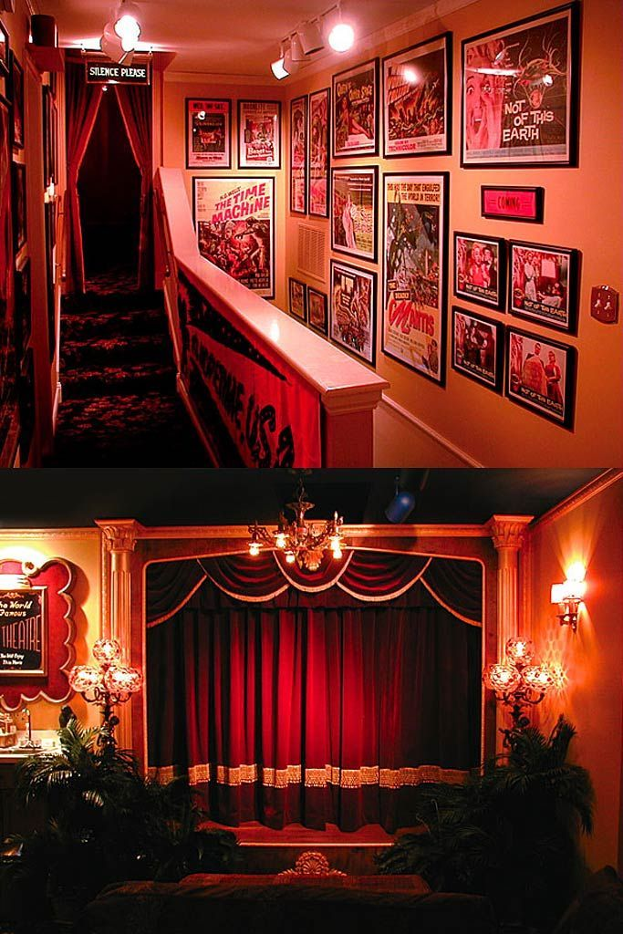 DIY Home Theatre via hometheater.com. Curtain inspiration for a media room!