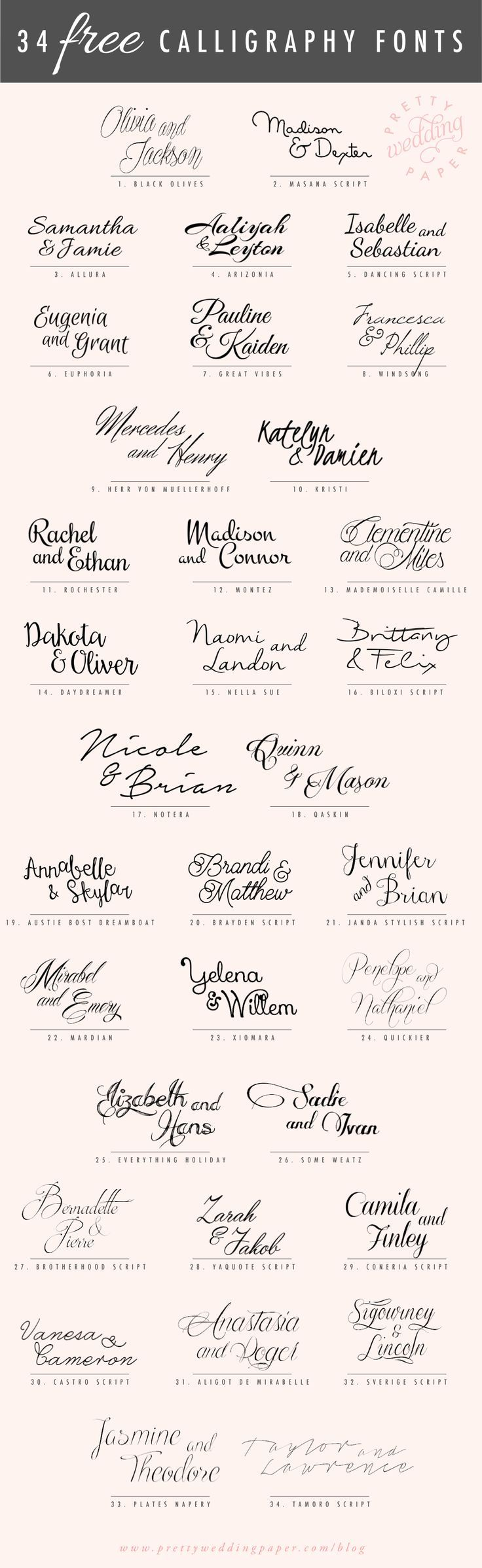 A follow-up to my post about amazing modern calligraphy fonts: here are 34 FREE calligraphic script fonts for hand-lettered, flowing wedding stationery! All the fonts listed below are absolutely free for personal use (some are free for commercial use, too – check the license!) which means you can use any and all of these to ……