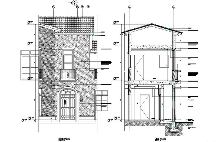 Elevation Design For Bungalow With Section Detail AutoCAD