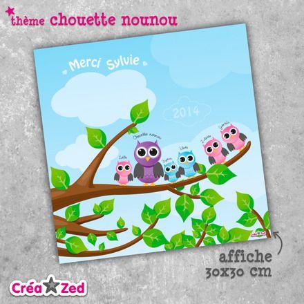 #chouette cadeau de fin d'année personnalisé pour la #nounou avec ses petits #hiboux