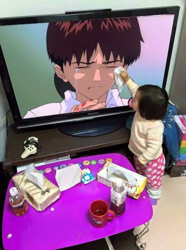 THERE IS NOTHING THAT CAN DRY THE TEARS OF SHINJI IKARI, NOT EVEN AN ADORABLE LITTLE GIRL HOLDING A TISSUE