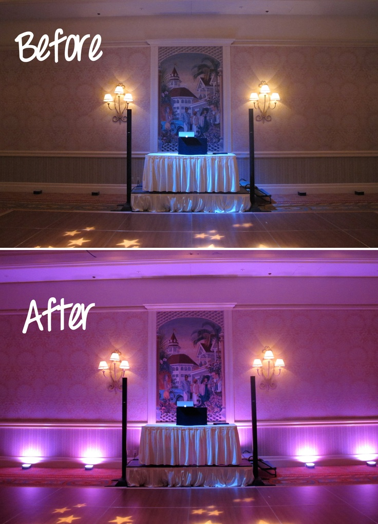 These Photos Give You The Dramatic Difference When Using Wedding Lighting  From Orlando Uplighting For