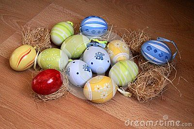 Beautiful easter background with colorful eggs
