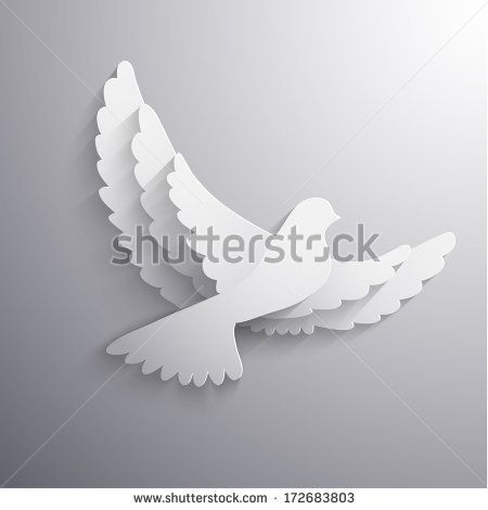 White flying dove abstract illustration - eps10 vector - stock vector